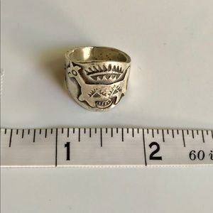 Stamped Horse Dog Band Sterling Silver 925 Ring